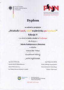 """<img src= """"dyplom.png"""" alt=""""Dyplom za udział w projekcie """"Doutsch-land, czyli wędrówka po landach"""" dla Szkoły Podstawowej w Słotwinie"""">"""